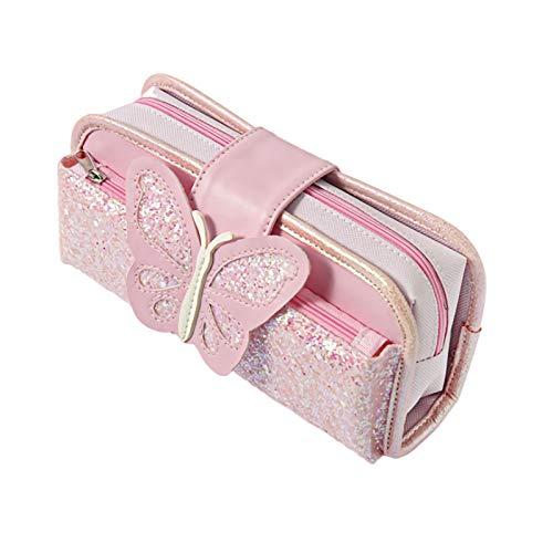 かわいい 蝶 キラキラ ペンケース 筆箱 文具袋 化粧ポーチ ペンポーチ メンズ レディース 小物ポーチ ギフト シンプル おしゃれ 大容量 (ピンク)