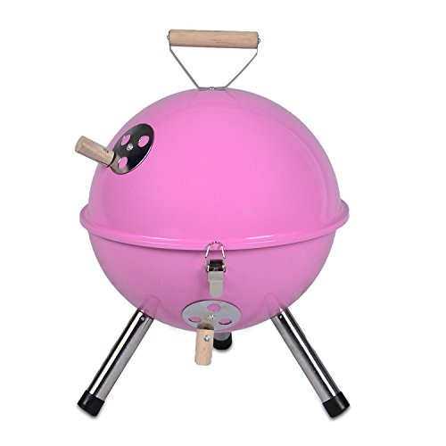 Mini Grill Kugelgrill Holzkohlegrill für Garten Terrasse Camping Festival Picknick BBQ Barbecue  Ø 30 cm pink
