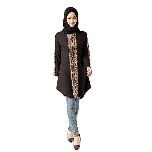 AmyGline Damen Kleider Muslim Lang Kleid Service Tops Bluse Islamische Printed Plus Größe Maxikleid Vintage Muslimisches Strickjacke Kleid Lose Robe Casual Abendkleid