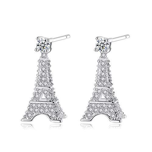Pendientes para mujer Torre Eiffel Brillante Plata de ley 925 Torre Eiffel 3D largos chapados en oro con diseño para mujeres y niñas (silver)