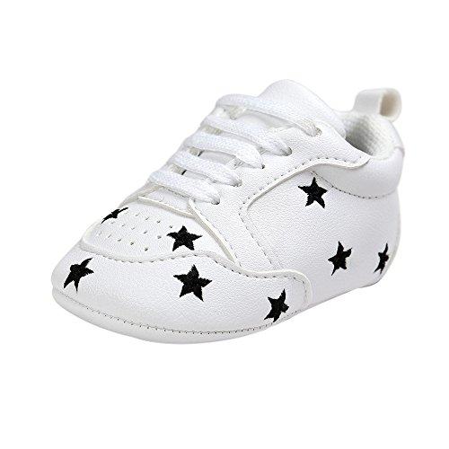 ESTAMICO Kleinkind Baby Jungen Weiche Leder weiße Turnschuhe Schwarze Sterne 0-6 Monate