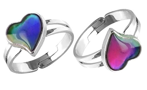 Acchmn Mood Ring Heart Shaped Changing Color Emotion Feeling Finger Ring 2 Pcs with Box