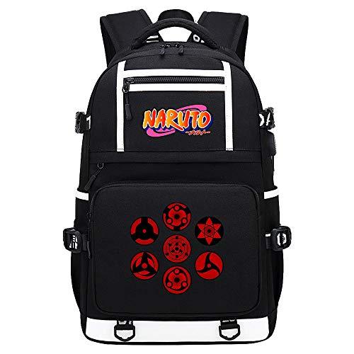 BOBD-DW Naruto Rucksack Für Städtetrips, Schule, Fahrrad Und Wandertouren Mit USB-Ladeanschluss Parallele Balken Farbwort USB Anime Rucksack 48X30X15CM