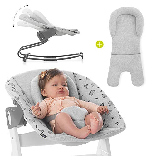 Hauck Newborn Aufsatz Bouncer Premium für Hochstuhl Alpha & Beta ab Geburt - 2in1 Babyaufsatz (Liege & Wippe) für Neugeborene mit verstellbarer Rückenlehne & Baumwolle - Hellgrau