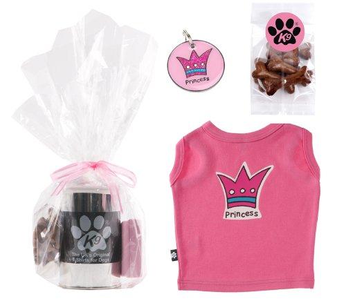 K9 cadeauset hond T-shirt Princess in metalen doos/medaillon identificatie Princess in een verpakking cadeau/hondsnacks in botvorm, Medium, roze