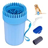 Apicallife Portable Dog Paw Washer Cleaner Set,2 in 1 Silicone Dog Foot Punger Cleaner Washer Cup with Towel and Pet Grooming Bath Brush,Finger Toothbrush for Dogs and Cats
