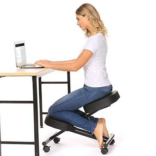 Himimi Ergonomic Kneeling Chair, Posture Corrective Chair, Adjustable Stool for Home and Office, Angled Seat for Neck & Back Pain Relief - Black
