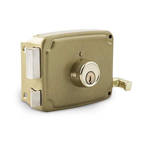 Cerradura sobreponer dorada 120mm.drcha.