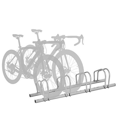 COSTWAY Aparcamiento para 4 Bicicletas para Suelo Ciclismo Soporte Metal para Hogar Centro Comercial Estacionamiento Color Negro