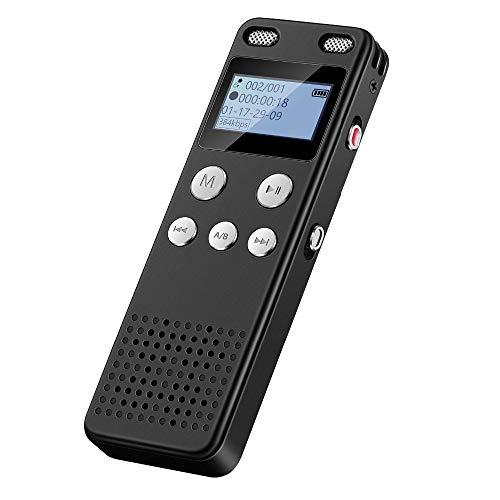 LNLJ 8 GB digitale voice recorder – automatische spraakactivering, ruisonderdrukking, digitale audio-MP3-speler met microfoon geschikt voor vergaderingen, lezingen en interviews.