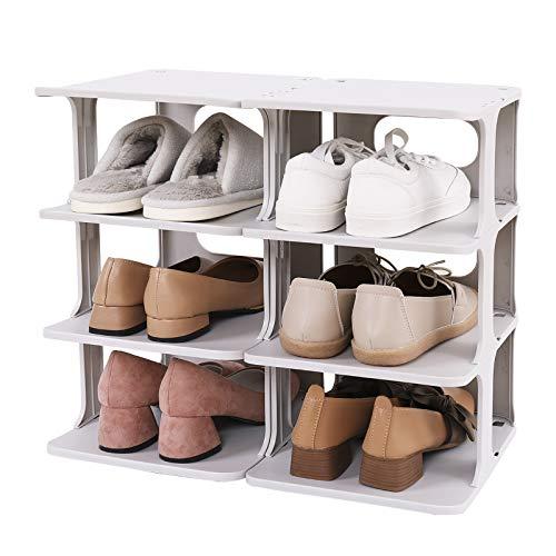 SOGOBOX Zapatero organizador apilable para armario, dormitorio y entrada, estante organizador de zapatos ajustable, duradero y estable,...