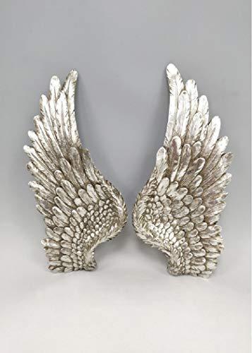 The Healing Corner - Juego de 2 alas de ángel para decoración de Pared con Purpurina Plateada
