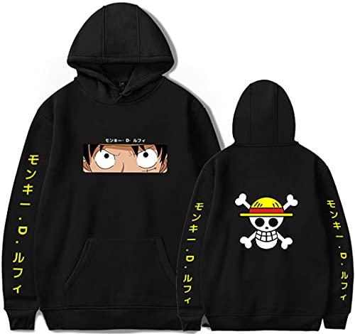 PANOZON Sudadera One Piece Hombre Impresa Figuras de Anime Luffy Roronoa Zoro Sanji Camiseta Manga (4XL, 74 Negro Luffy-1)