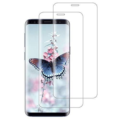 XSWO 2 Unidades Cristal Templado para Galaxy S8, Protector de Pantalla para Samsung Galaxy S8, [3D Cobertura Completa] [9H Dureza] [Sin Burbujas] [Fácil Instalar] Vidrio Templado