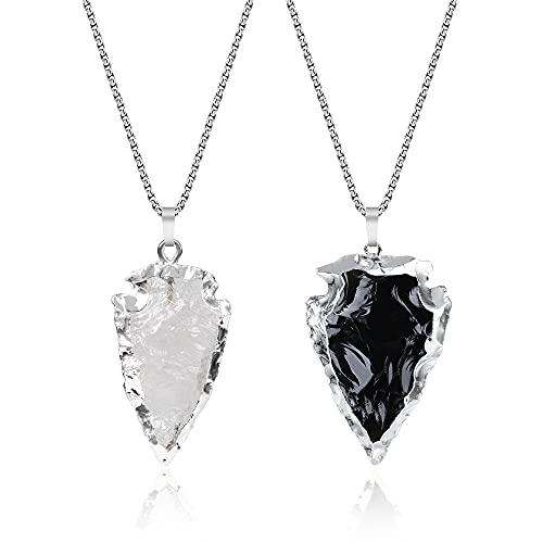 COAI Par de Collares Yin Yang para Pareja con Colgantes Punta de Flecha de Cristal de Cuarzo y Obsidiana en Bruto