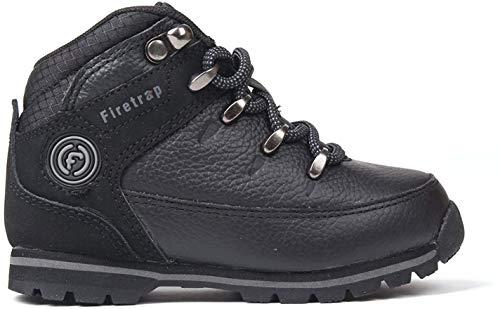 Firetrap Kinder Rhino Leder Schnürschuhe Wanderschuhe Hiking Schuhe Stiefel Schwarz/Schwarz C5 (21.5)