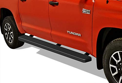 APS iBoard Running Boards 5 inches Matte Black Custom Fit 2007-2020 Toyota Tundra CrewMax Pickup 4-Door (Nerf Bars Side Steps Side Bars)