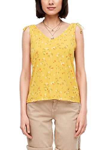 s.Oliver Damen Mesh-Top mit floralem Print yellow AOP flowers 36