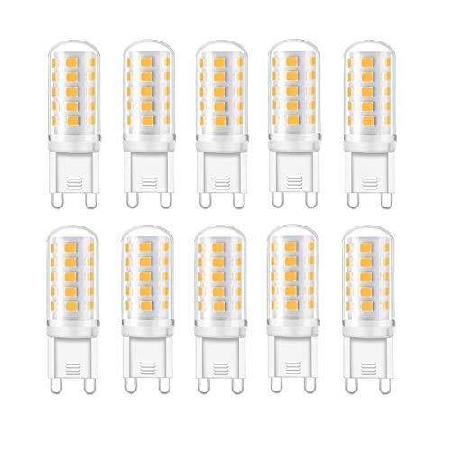 G9 LED Lampe, Warmweiß 3000K, 5W G9 LED Leuchtmittel, 400 Lumens, Kein Flackern, Nicht Dimmbar, G9 Glühbirne, LED Birne G9 Ersetzt 40W G9 Halogenlampe, 10er