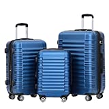 BEIBYE Hartschalen Koffer Trolley Rollkoffer Reisekoffer Zwillingsrollen Kofferset (Blau, Set)