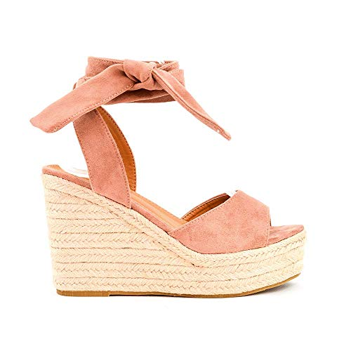 Zapatos Sandalias con cuña tacón Plataforma Alta con Tira Ancha y Cuerda al Tobillo de Ante Antelina