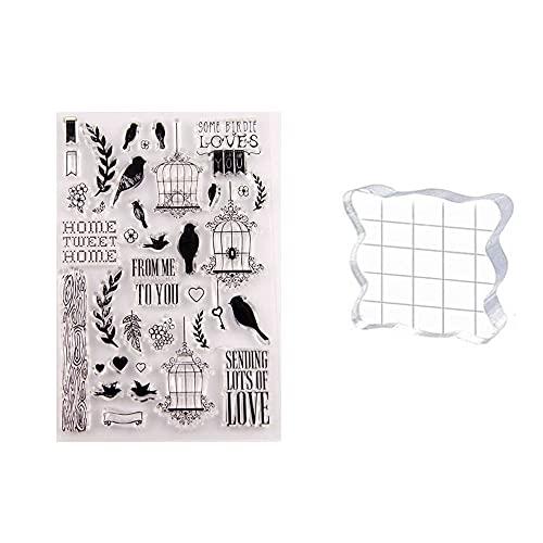 GIVBRO Sello transparente etiqueta engomada del sello del bloque de acrílico del texto de los animales, plantilla de scrapbooking con patrón de pájaro para hacer tarjetas de felicitación (#D)