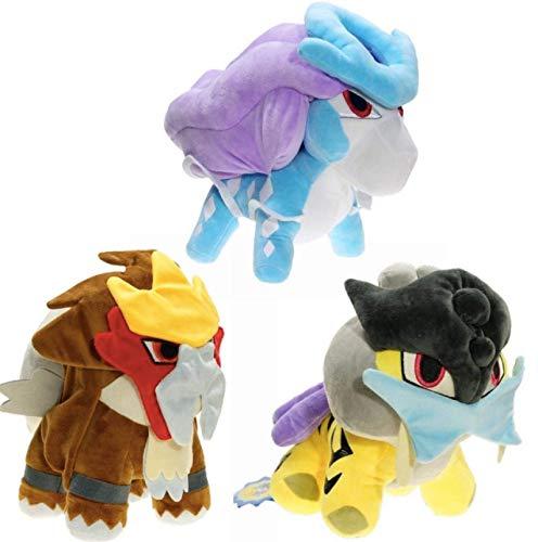 ADIE Plüschtier 3 stücke Pokemon Puppe Raikou Suicune Entei ausgestopfte Plüsch Puppe Spielzeug 30 cm, Anime Cartoon Kinder Geschenke Entei Puppen Plüschtier