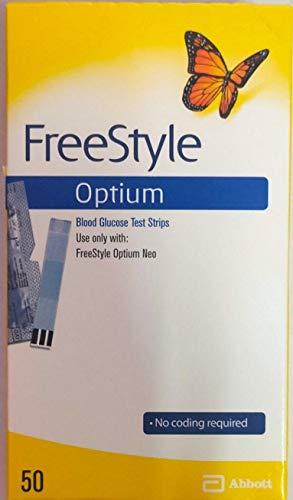 Freestyle Optium, un paquete con 50 tiras de prueba de glucosa en sangr