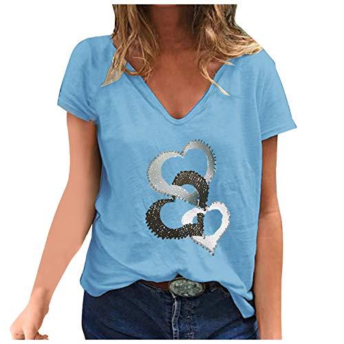 VEMOW Blusas y Camisa Mujer Moda Blusas básicas de Manga Corta con Cuello en V, Estampado de LOVE Corazón Camisetas Informal Camisas Sueltas Tallas Grandes Fiesta T-Shirt Tops Originales(B Azul,L)