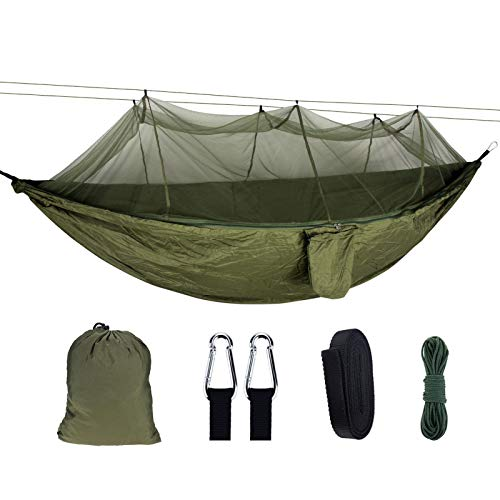 Cyhamse Amaca per esterni, con zanzariera, campeggio, luce traspirante, per trekking, viaggi, spiaggia, giardino, 300 kg di capacità