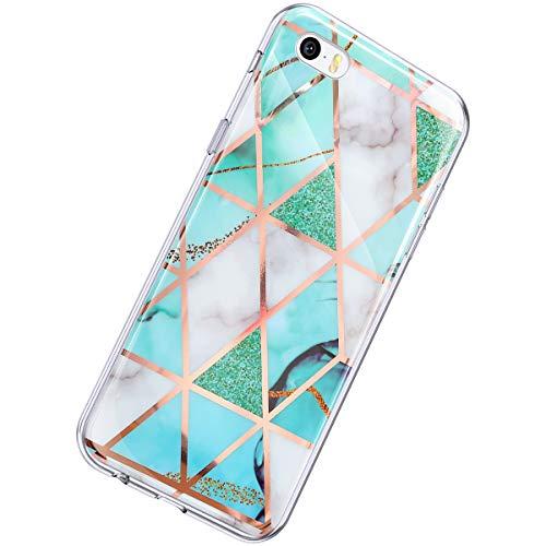 Herbests Kompatibel mit iPhone SE/iPhone 5S Hülle Glänzend Glitzer Marmor Muster Schutzhülle Weich Silikon Ultra Dünn Handyhülle Handytasche Durchsichtige Silikon Hülle Case,Marmor Weiß Grün
