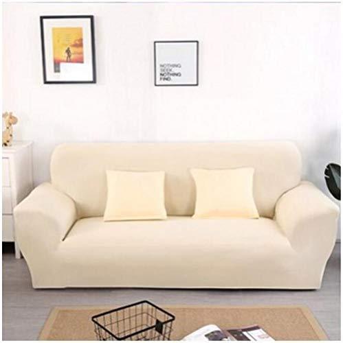 Allenger Stretch Velvet Optic Couch Cover,Einfarbige Stretch-Sofabezug, Vier Jahreszeiten universelle rutschfeste Sofabezug, einfarbige Möbel staubdichte Sofakissenbezug-Beige_90-140cm