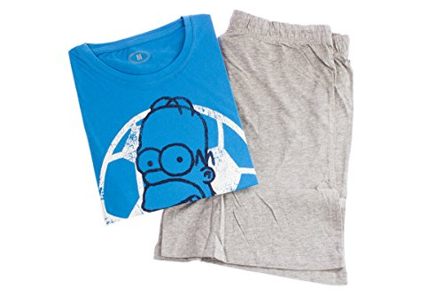 The Simpsons Shorty Pyjama Schlafanzug (L (52-54), Blau (Homer/Fussball))