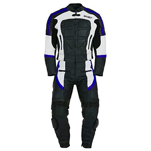 WinNet Tuta divisibile di pelle da moto giacca e pantaloni separabili in 2 pezzi (L, BLU)