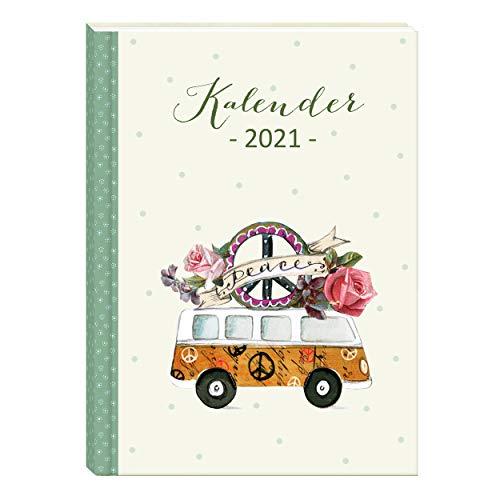 A6 Organizer 2021 Kalender | Taschenkalender Wochenplaner 2 Seiten pro Woche | Kalenderbuch klein, Hardcover| Terminkalender, Terminplaner 2021, Retro, Vintage