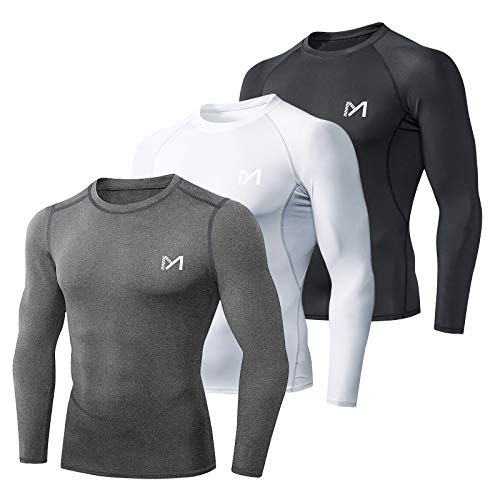 MEETYOO Camiseta Compresion Hombre, Ropa Deportiva Manga Larga Base Layers para Running Gym Ciclismo (Negro+Gris+Blanco, M)