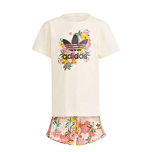 adidas GN4212 Short tee Set Sport Set Girls Top:Cream White/Multicolor/Black Bottom:Trace Pink f17/multicolor/hazy Rose s21 5-6A