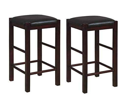 """Linon Betsy Espresso Backless 25"""" Counter Stools Set of Two, Espresso Stools"""