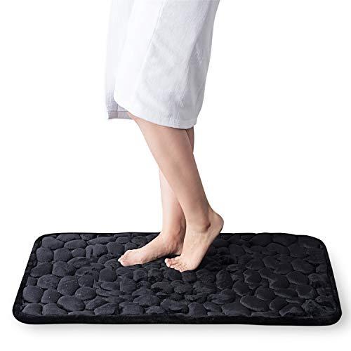 Bedsure Memory Foam Bath Mat,Non Slip Cobblestone Bathroom Rugs,Absorbent Black Bath Mats for Bathroom(20x30 inches Black)