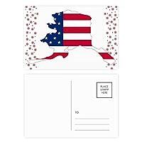 地図の星のストライプ形状alaka米国旗 クリスマスの花葉書を20枚祝福する
