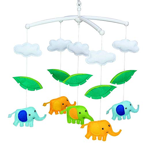 PANDA SUPERSTORE Blu Arancione Verde Elefanti Culla Mobile Fatto A Mano Non Tessuto Musicale Culla Mobile Giocattolo Nursery Room Decor