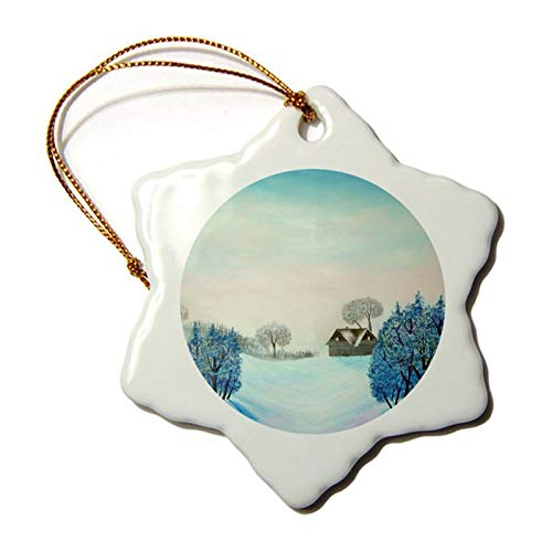 Christmas Ornaments, Swiss Opus Blue Christmas Porcelain Snowflake Ornament Tree Hanging Decor Gift for Families Friends,3 Inch