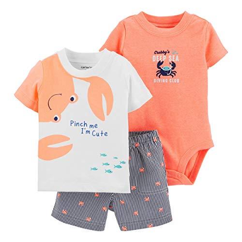 Carter's Baby Boys' 3-Piece Little Short Sets/Hippo (12 Months, Orange/White)