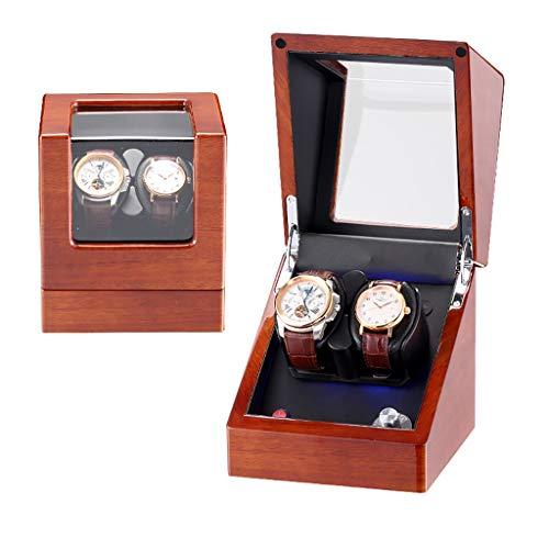 Caja Giratoria para Relojes Rotador automático de lujo for reloj giratorio con caja de exhibición de caja de almacenamiento de relojes de cuero 2 + 0, pintura de piano de madera maciza - lámpara LED d