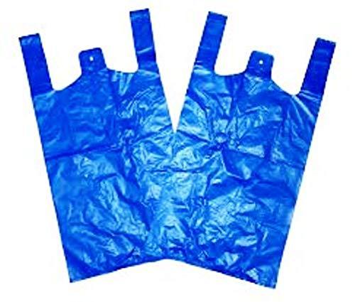 DNS Supplies 100 x Strong 11x17x21' Blue Plastic Vest Carrier Bags, 18mu, 1