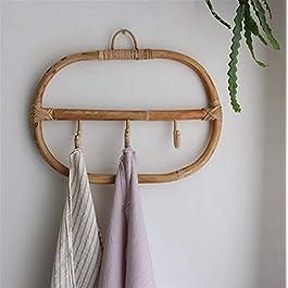 JSJJARD Patères pour Manteaux 1pc Grand Crochets muraux en rotin vêtements Hat Crochet de Suspension Porte Crochet Tissu…