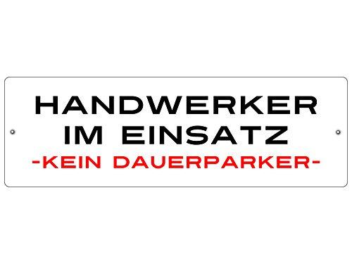 KUNSTSTOFFSCHILD mit Saugnapf Autoschild Handwerker IM Einsatz Innenraum Auto