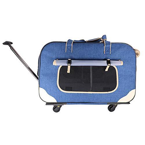 Transporttrolley voor honden van Oxford-stof, transportbox voor honden met wielen, huisdier reistas draagtas met telescoophandvat, hond zachte draagtas met afneembare wielen voor honden
