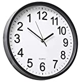 YAVIS LIN'A3 12' Backwards Wall Clock Reverse Clock Runs Counterclockwise Decorative Wall Clock Battery Operated with Large Numbers for Living Room Office School Classroom Bar