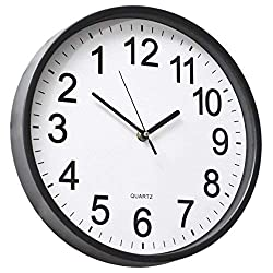 YAVIS 12 Inch Backwards Wall Clock Reverse Clock Runs Counterclockwise Decorative Wall Clock Battery Operated with Large Numbers for Living Room Kitchen Office School Classroom Bar
